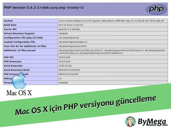 Mac OS X için PHP versiyonu güncelleme