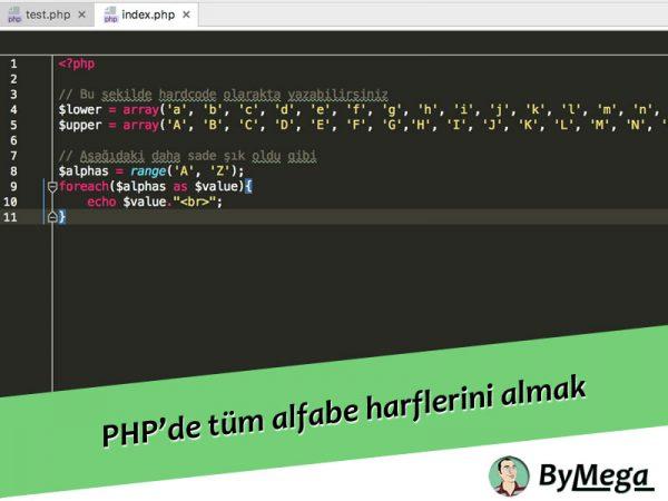 PHP'de tüm alfabe harflerini nasıl alabilirim?